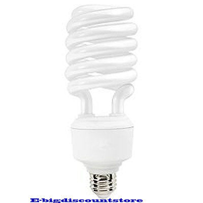 40W T4 Spiral Compact Fluorescent Bulb Screw In Base High Lumen/Wattage - High Wattage Compact Fluorescent
