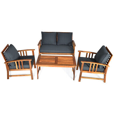 Garden Furniture - 4 Pieces Wooden Patio Furniture Set Table Sofa Chair Cushioned Garden Outdoor