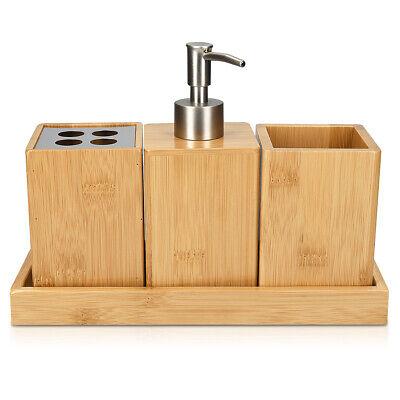 Badezimmer Set Bambus 4-teilig Zubehör mit Zahnputzbecher Seifenspender Becher