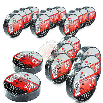 20 Rolls Of 3m 1700 Temflex 34 X 60 Black Electrical Tape Free Shipping