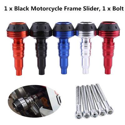 1x Black Motorcycle CNC Exhaust Frame Slider Falling Protector Anti Crash Caps