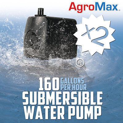 QTY=2 160 GPH SUBMERSIBLE WATER PUMPS gallons per hour aquarium hydroponics