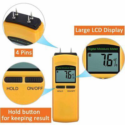 Digital Lcd Wood Moisture Meter Damp Detector Tester Firewood Concrete Useful