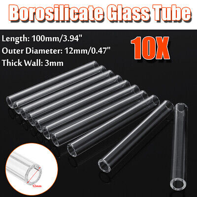 10Pcs 100mm OD 12mm 3mm Thick Wall Borosilicate Glass Tube Pyrex Blowing Tubing 3 Mm Thick Tube
