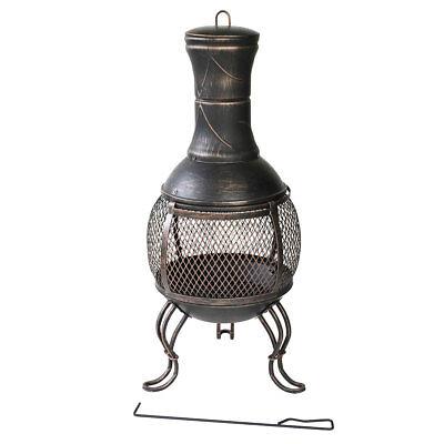 Terrassenofen Gartenofen Metall Kamin Feuerstelle 89cm Vintage Feuerkorb Outdoor