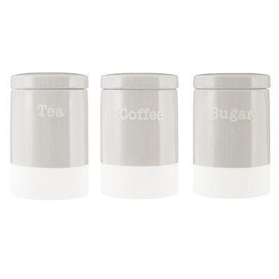 Premier Housewares Jura Tea Coffee Sugar Canisters, Grey Modern Kitchen Storage