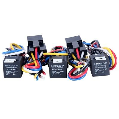 12V 30/40 AMP SPDT Automotive Relay with Wires & Harness Socket (5 pack) US SHIP