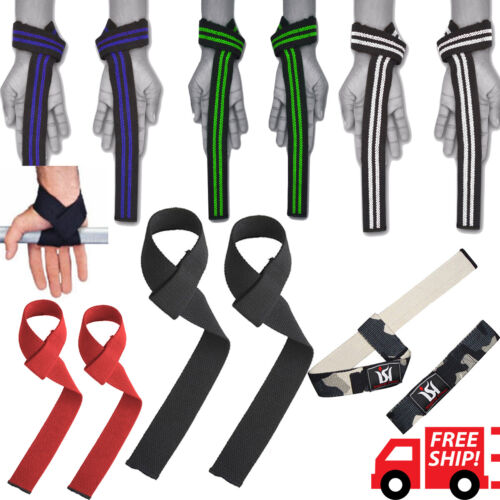 Power Weight Lifting Training Bar Straps Gym Hand Wrist Support Cross Fit Cotton