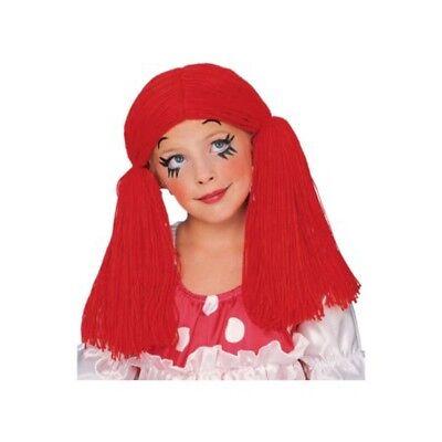 Rag Doll Girl Child Red Wig Raggedy Ann Pigtails Costume Clown Kids Girls (Red Rag Doll Wig)