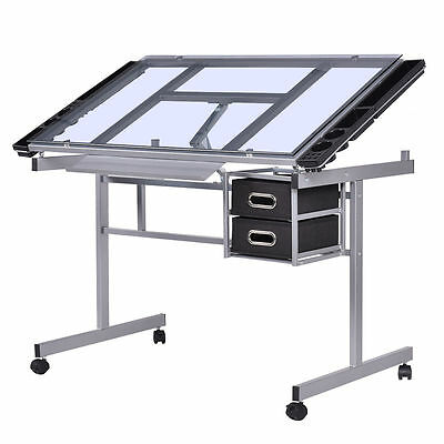 Adjustable Rolling Drawing Desk Drafting Table Tempered Glass Top Art Craft New
