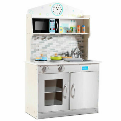 Wooden Kitchen (Wooden Pretend Cooking Playset Kitchen Toys Cookware Play Set Kids Toddler)
