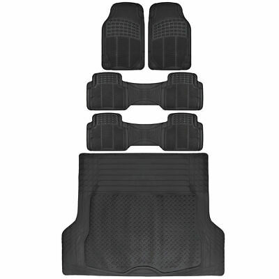 Van SUV Floor Mats All Weather 5 Piece Rubber Mat 3 Row  Trunk Mat Black
