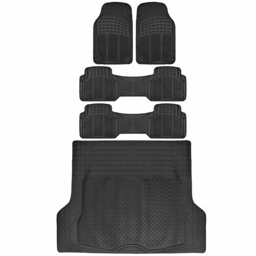 5 PC Rubber Floor Mats & Trunk Liner Combo for 3-Row Van SUV All Weather Black