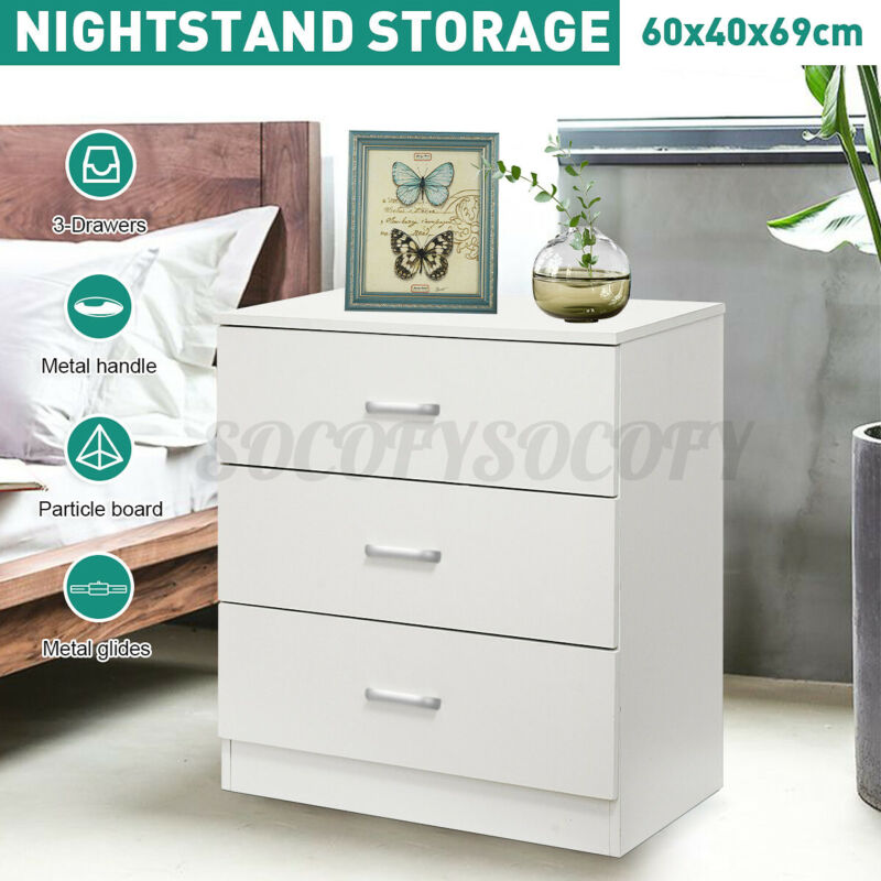Nightstand Dressers Chest Of Drawers 3 Drawer Wooden Bedroom Storage Furniture