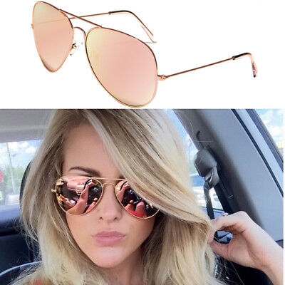 XL Oversized Rose Gold Women Sunglasses Aviator Mirrored Metal Glasses Pink New