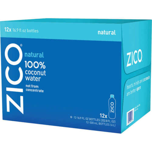 ZICO Natural 100% Coconut Water Drink No Sugar Added Gluten Free 16.9 fl oz