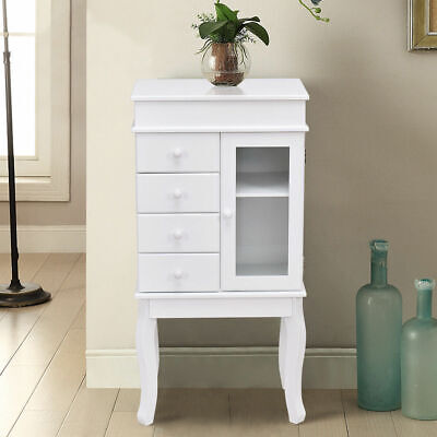 Mirrored Wood Jewelry Cabinet Armoire Storage Chest Stand Or