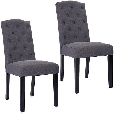 Set of 2 Fabric Wood Accent Dining Chair Tufted Modern Living Room Furniture New