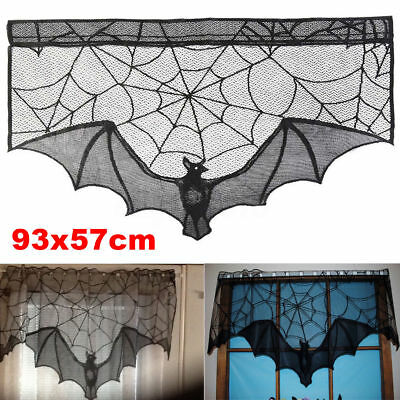 Black Lace Bat Halloween Props Party Scary Indoor Decorations Window - Indoor Halloween Decorations