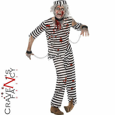 Adult Zombie Convict Costume Male Prisoner Halloween Mens Fancy Dress Outfit New