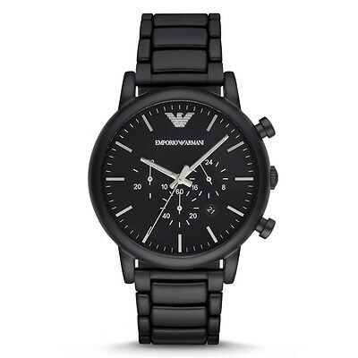 NEW EMPORIO ARMANI AR1895 MENS BLACK CHRONOGRAPH WATCH - 2 YEAR WARRANTY