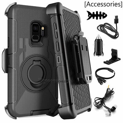 For Samsung Galaxy S9 Plus S8 Rugged Phone Ring Case Cover w/ Belt Clip Holster