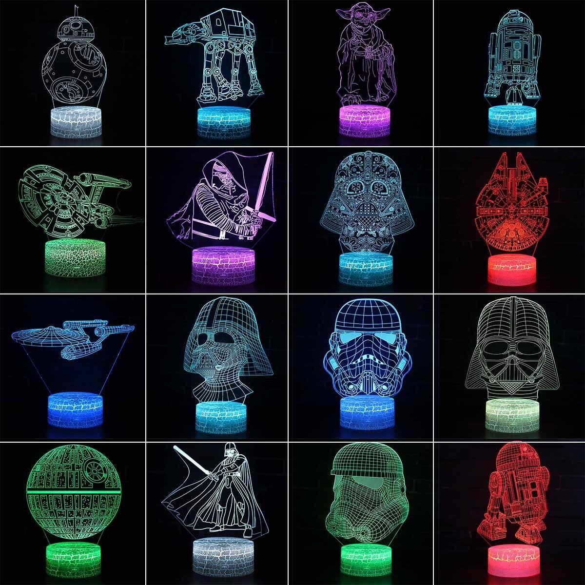 Star Wars BB-8 3D LED Tischleuchte Tischlampe Nachttischlampe Leselampe 7 Farbe