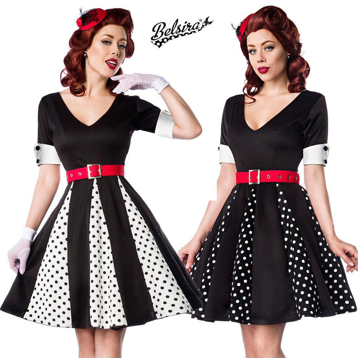 wholesale dealer 36ad1 65f97 Abito Vintage Anni 50 Pin Up Rockabilly Retro Pois Vestito ...