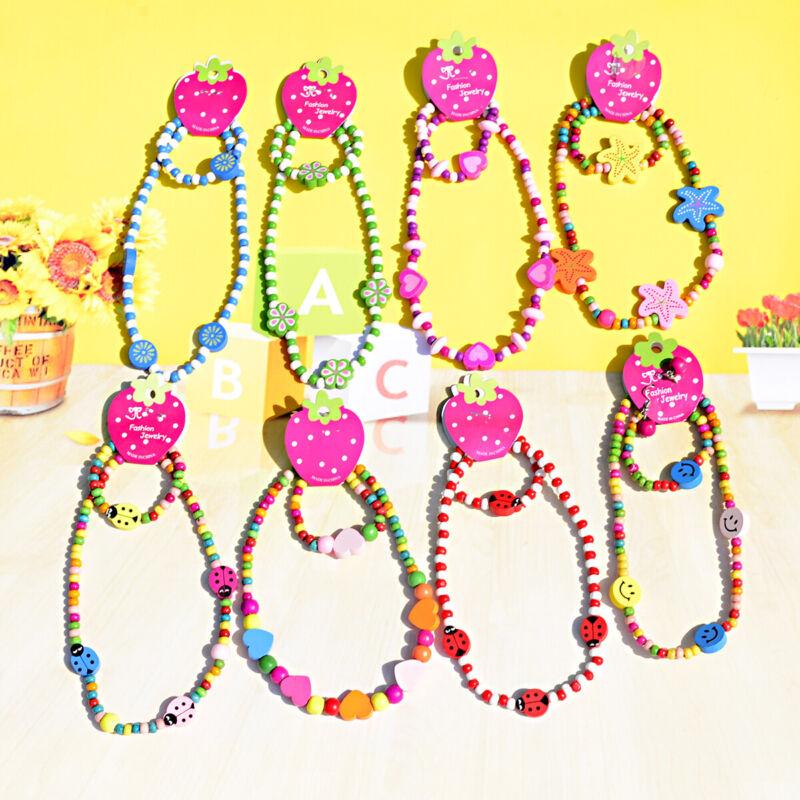 Wholesale 120 Colorful Wooden Bead Cute Children Necklace Bracelet Jewelry Sets