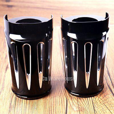 CA Deep Cut Black Fork Boot Set Slide Cow Bells For Harley Street Glide 14-18