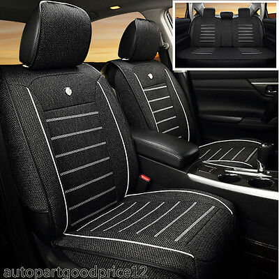 Linen Fabric Universal Auto Car Seat Cover Supports Front Rear Protector