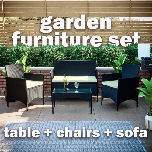 Garden Furniture - Rattan Garden Furniture Set 4 Piece Chairs Table Sofa Outdoor Patio Set Black