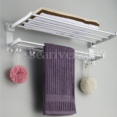 شماعة حمام جديد Wall Mounted Towel Rack Holder Hook Hanger Bar Shelf Rail Storage Bathroom Hotel