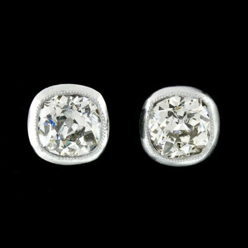 Antique Platinum 1.28ctw Old Mine Cushion Milgrain Bezel Diamond Stud Earrings