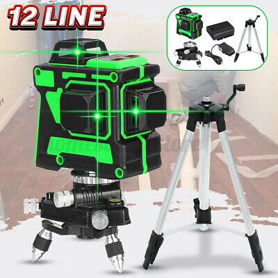12 Lines Green Laser Level 360 Rotary Cross Horizontal Measure Self Leveling