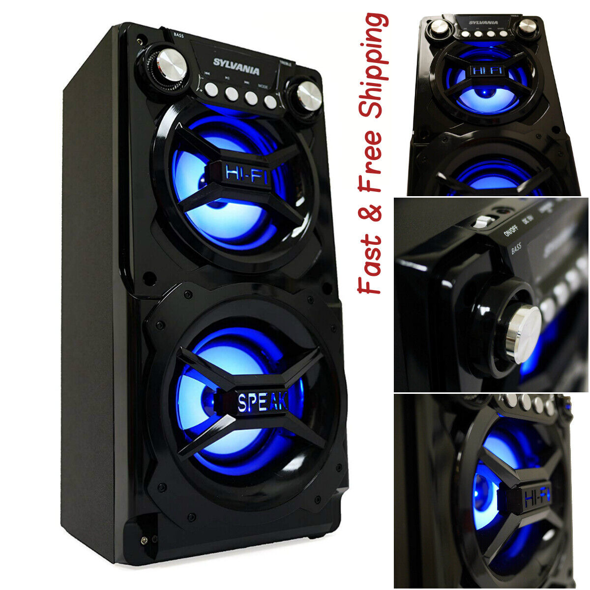 Speaker System Bluetooth Portable Huge Stereo Sound Tailgate
