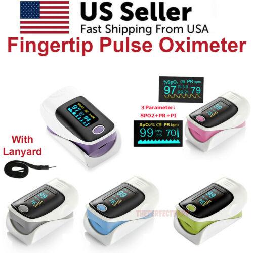Finger Pulse Oximeter Blood Oxygen SpO2 Monitor PR PI Respiratory Rate CE
