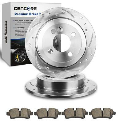 4 Lug Rear 2 Drilled Slotted Brake Rotors + 4 Ceramic Pads For MINI Cooper 07-15
