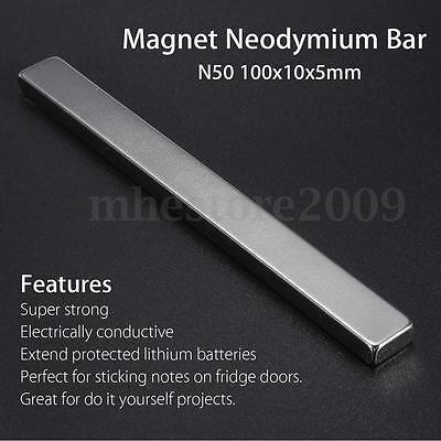 N50 Grade Strong Block Strip Cuboid Magnet 100x10x5mm Rare Earth Neodymium Bar