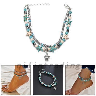 Boho Anklet Ankle Bracelet Turtle Beach Silver Turquoise Festival Bohemian UK