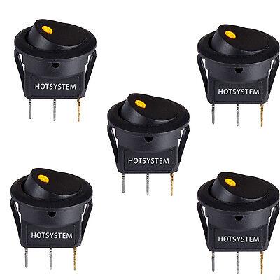 5 Hotsystem Yellow Led Dot Light 12v Car Round Rocker Onoff Toggle Spst Switch