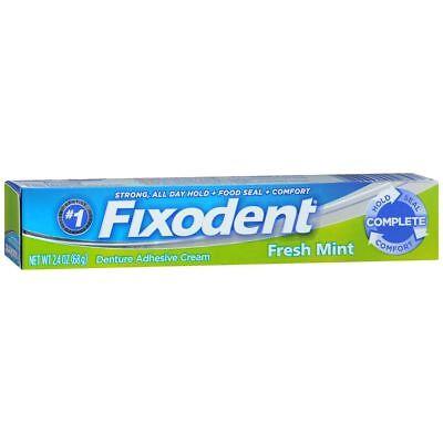 Fixodent Denture Adhesive Cream Fresh Mint - 2.4 OZ (2 Packs)