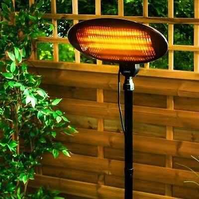 Premium Halogen Quartz Patio Heater Free Standing Garden Electric Adjustable
