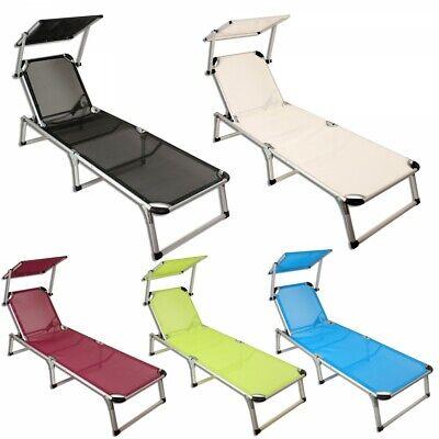 Sonnenliege klappbar mit Dach Alu Gartenliege Liegestuhl Strandliege Aluminium - Outdoor Klapp-liegen