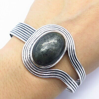 """925 Sterling Silver Vintage Real Serpentine Gemstone Bangle Bracelet 7 3/4"""""""