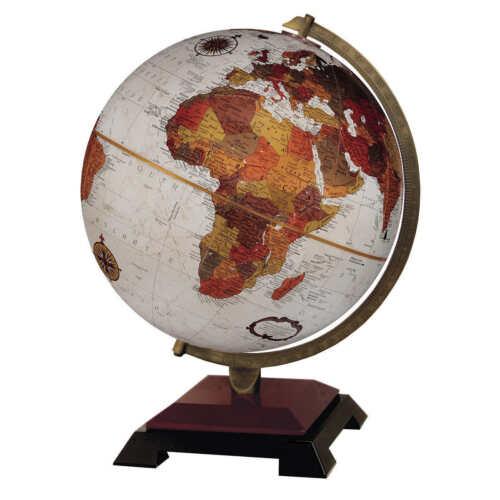 "World Globe Cherry & Black Wood Base 12"" Bronze Home Decorative Accents Globes"