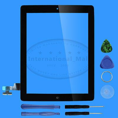 Schwarz Front Glas für iPad 2 Touch screen Bildschirm Scheibe Digitizer Display