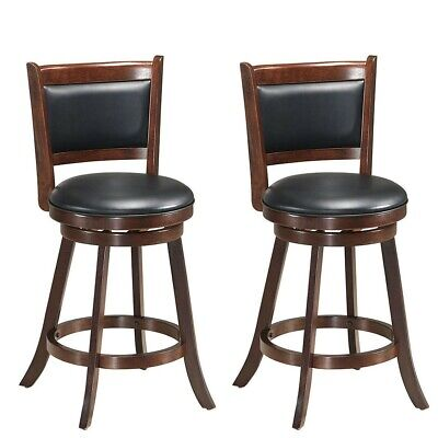 Set Of 2 24 29 Accent Wooden Swivel Bar Stools W High Back Upholstered Seat