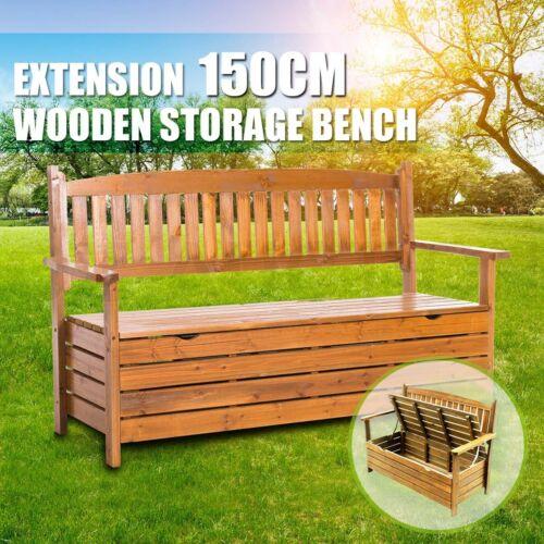 Garden Furniture - Wooden Outdoor Storage Bench Garden Chair Box 3 Seat Chest Furniture Timber 1.5m