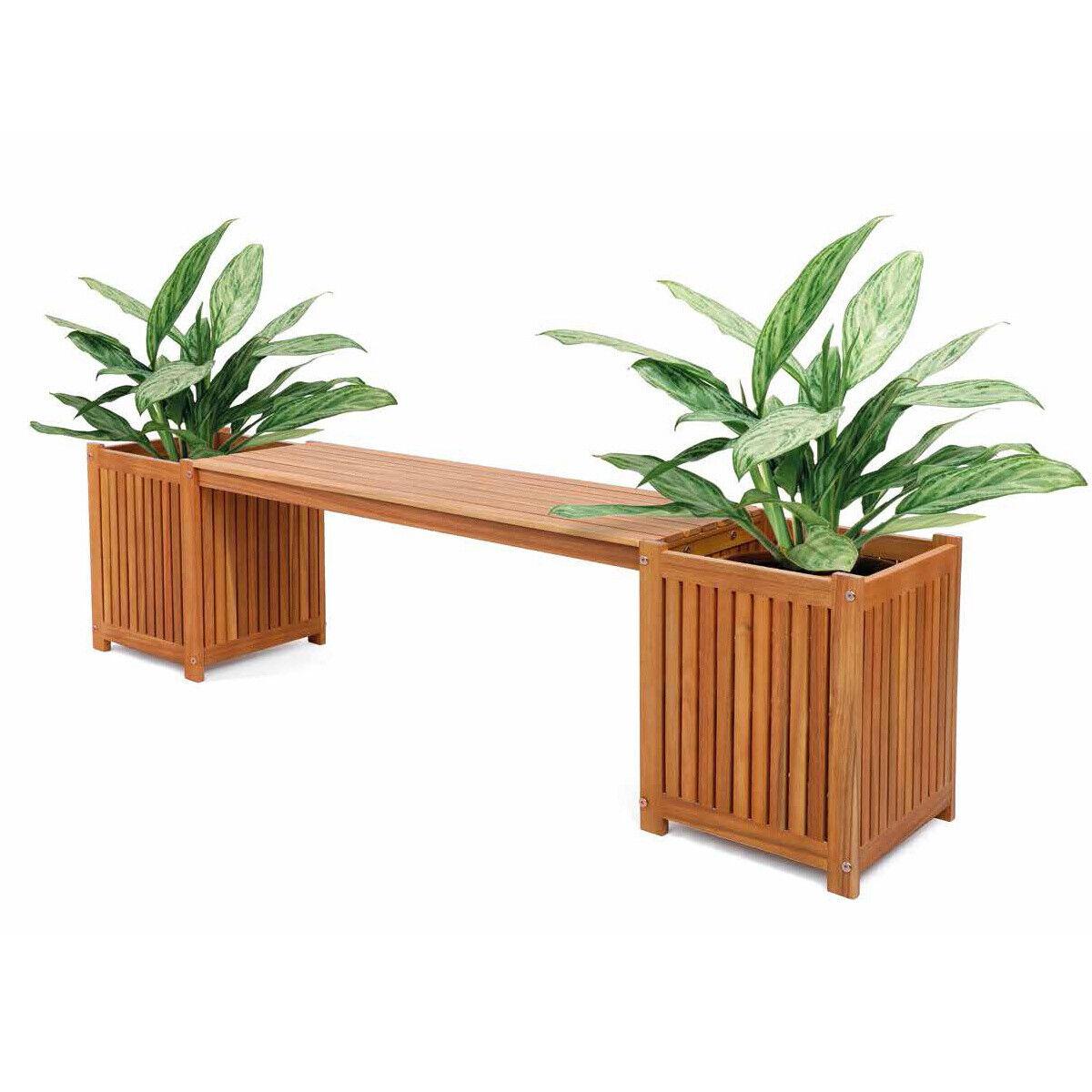 Garden Furniture - Bench Seat with Planter Boxes Outdoor Deck Garden Furniture Acacia Wood Natural